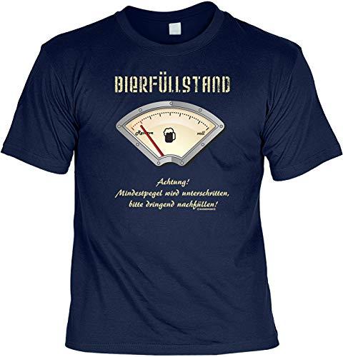 Fun T-Shirt: BIERFÜLLSTAND, Pegel Wird unterschritten, Navy-Blau,Ideal als Geschenk passend zur Wiesn und jedem Anderen Bierzeltbesuch