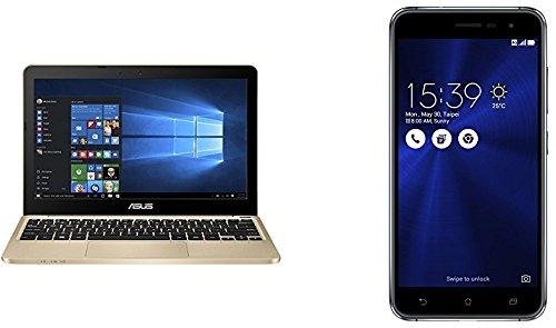 Preisvergleich Produktbild Asus E200HA-FD0043TS 29,4 cm (11,6 Zoll) Notebook (Intel Atom X5-Z8350, 2GB RAM, 32GB eMMC, Intel HD-Grafik, Win 10 Home) gold + Asus ZenFone 3 (ZE520KL) Dual-SIM Smartphone (5,2 Zoll (13,2 cm) Full-HD Touch-Display, 64GB Speicher, Android 6.0) schwarz