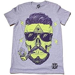 Bearded Skull T-Shirt para Hombre y Mujeres Camiseta Unisexo Mens Ladies Hipster Beard Illuminati