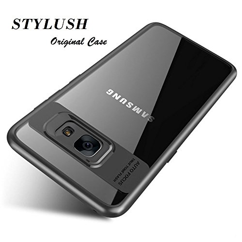 STYLUSH Plastic Clear Back Lens Protector Case Cover for Samsung Galaxy J7 Max (Black, TBA-SAM-TR-AF-J7MAX-BLK)