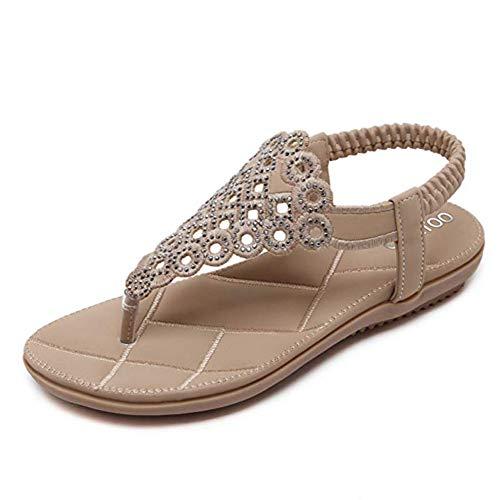 Peep Toe Lässig Slip (CARETOO Damen Sommer Bohemian Flachen Sandalen Tanga T-Strap Blume Slip auf Flip Flops Schuhe)
