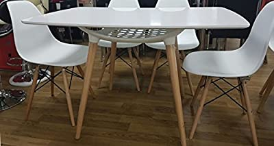 White Dining Table and with 4 Chairs, Retro DSW MDF Top with Solid wood & Metal