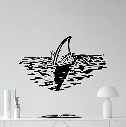 56 * 56cm Animal Series Shark Fin Ablove The Ocean Water Sea Animals Vinyl Wall Decals Home Living Room Art Decor -