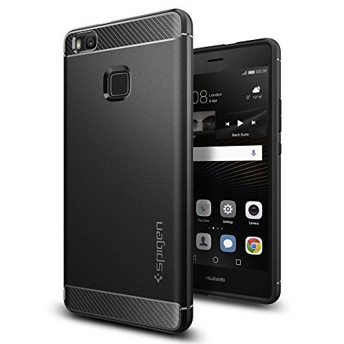 Huawei P9 Lite Hülle, Spigen® [Rugged Armor] Karbon Look [Schwarz] Elastisch Stylisch Soft Flex TPU Silikon Handyhülle Schutz vor Stürzen und Stößen Schutzhülle für Huawei P9 Lite Case Cover - Black (L05CS20299)