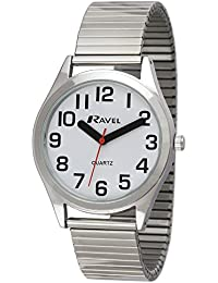Ravel Herren-Armbanduhr Ravel Easy Read Watch with Bold Hands. Analog Edelstahl Silber R0225.01.1