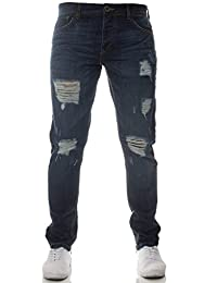 neuf stylé ENZO De marque Déchiré Jeans Créateur Coupe Slim Bleu Jambe Fermeture éclair pour ajouter Style