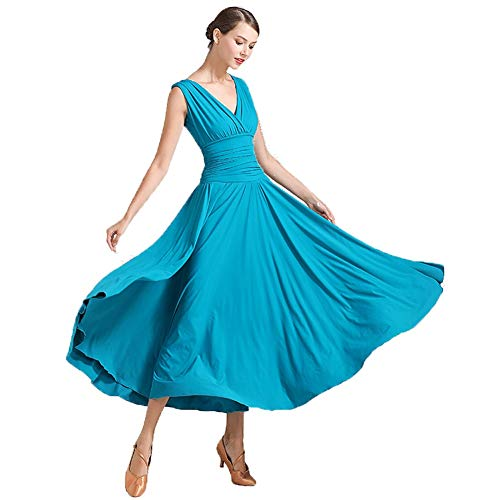 Kostüm Tanz Peacock - V-Ausschnitt Anzug Weiblichen Modernen Tanz Rock Gesellschaftstanz Großen Swing Kleid Kostüm (Color : Peacock Blue, Size : XXL)