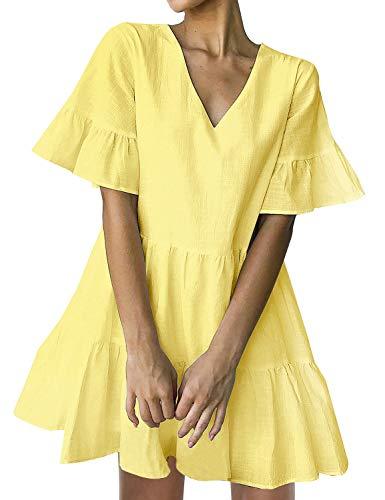FANCYINN Mini Kleider Damen Sommerkleider V-Ausschnitt Volant Swing Kurze Kleider Gelb