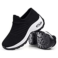 Women's Walking Shoes Sock Sneakers - Mesh Slip On Air Cushion Lady Girls Modern Jazz Dance Easy Shoes Platform Loafers Black&White,8