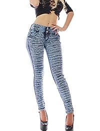 Pantalon vaquero de mujer,Push up / Levanta cola,Pantalones elásticos colombiano 1057,color azul con talla 34-48,XS-XXXL