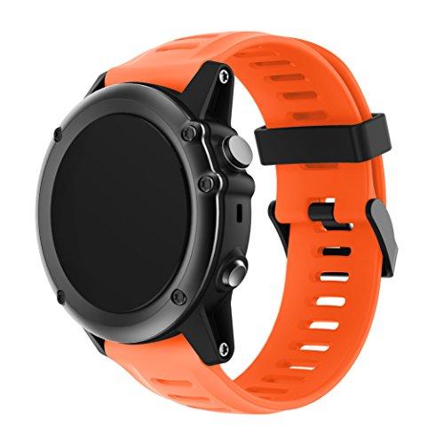 TOPsic Garmin Fenix 3 / Fenix 5x Sport Watch Armband - Silikon Sportarmband Uhr Band Strap Ersatzarmband Uhrenarmband mit Werkzeug für Garmin Fenix 3 / Fenix 3 HR GPS Smart Watch (Fenix Montieren Garmin)
