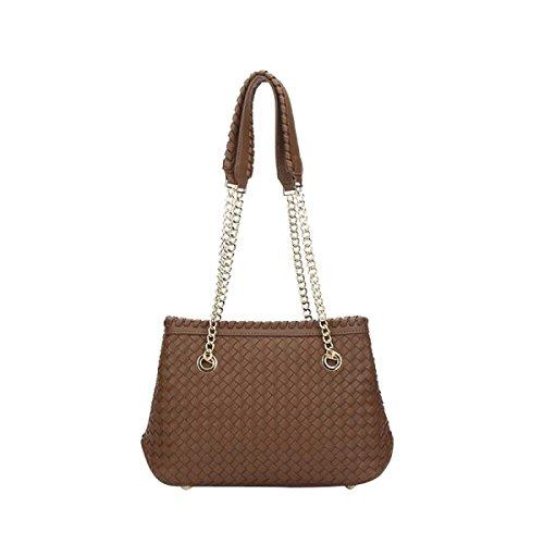 Womens Woven Tote Handtaschen-Einkaufstasche Strandtasche Sandcolor