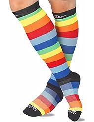 RioRiva Calcetines de compresión para mujeres y hombres, Para todos los deportes, viajes aéreos, enfermería, fines médicos y períodos largos (Rayas coloridas, L:HOMME EU44.5-49/FEMME EU41-42)
