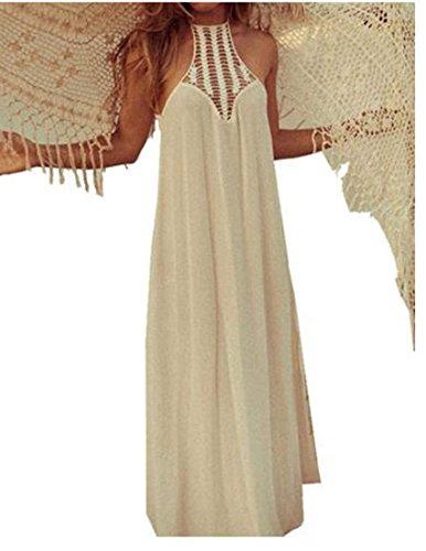 ZEARO donne Abito spiaggia chiffon maxi Vestito da Sera lungo elegante bianco (Dea Chiffon Abito Da Sera)