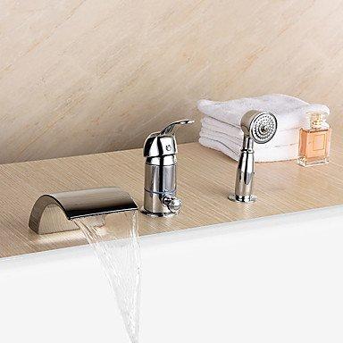 Desy–Ìnew vasca/cascata/Handshower incluso con valvola in ceramica 1-handle 3-holes per vasca da bagno cromato Rubinetto