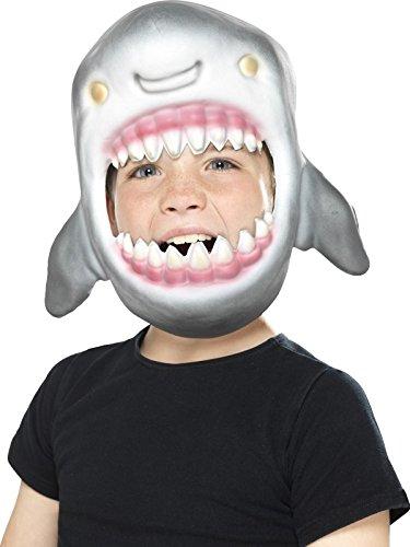 x Hai Maske, Ganzer Kopf, One Size, Grau, 46975 (Hai Kostüm Für Kinder)