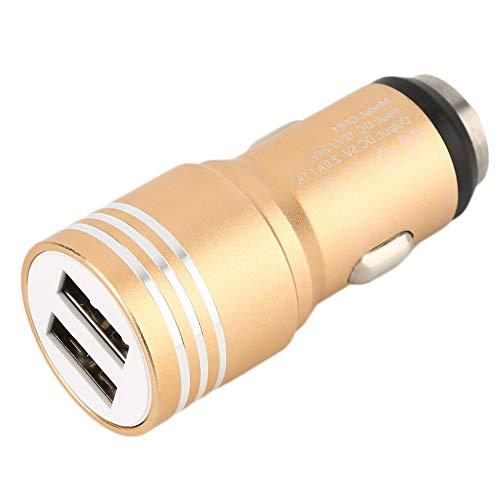 Caricabatteria da auto universale in alluminio 2.0A 2 porte USB 2.0 per telefoni cellulari Nuovo nero