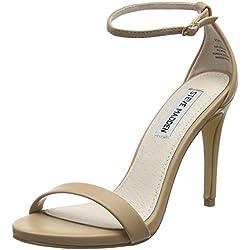 Steve Madden Footwear Damen Stecy Pumps mit Fußgelenkriemchen, Beige (Natur), 38 EU