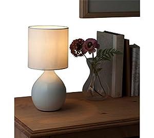 Modern Cotton Cream ColourMatch Round Ceramic Stylish Table Lamp by DELEX®