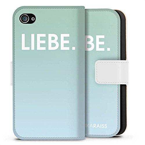 Apple iPhone X Silikon Hülle Case Schutzhülle Liebe Mint Farbverlauf Sideflip Tasche weiß