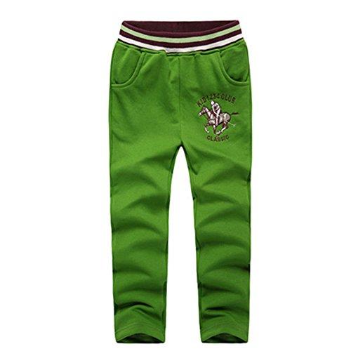 Jogginghose Grün Jungen (basadina jogginghose kinder jungen Sweatpants mit Golf Riding Stickerei, Sporthose für 4-10 Jahre alt)