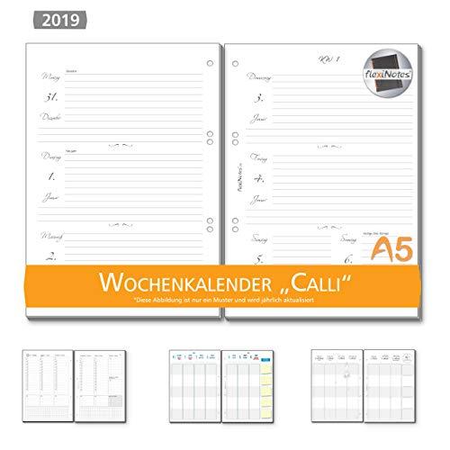 Pagina Calendario Settimanale.Flexinotes Calendario Settimanale 2019 A5 Inserto Calendario Basic 1 Settimana 2 Pagine Calli