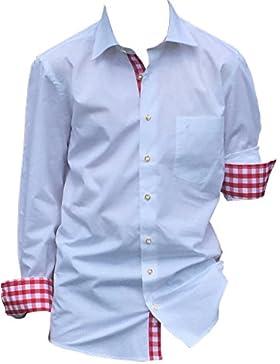 Edles Trachtenhemd Herren-Hemd zur Lederhose Trachten-Jeans Weiß Rot Kariert Baumwolle Langarm Slim Fit. Perfekt...