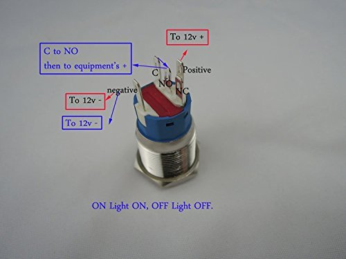 Podoy New 12v 5a 12v 19mm Blue Led Momentary Push Button