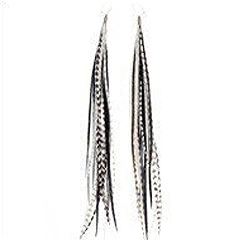 SEXY SPARKLES Paire de boucles d'oreilles pendantes en plumes de coq 5plumes par boucle d'oreille Blanc/noir 10,2-15,2cm