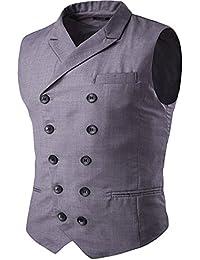 Cloudstyle Gilet de costume deux boutonnages veste sans manches slim fit mince homme