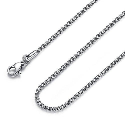 FOSIR Damen Herren Edelstahl Rolo Kette Herrenhalskette Farbe Silber- für Anhänger Breit 2mm-4mm