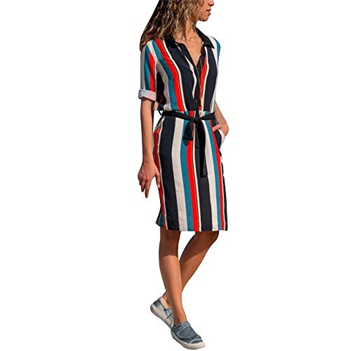 AMUSTER Damen Elegant Hemdkleid Frauen Streifen Kleid Sexy Böhmen Langarm Minikleid Damen Beiläufiges Langarm Minikleid T-Shirt Kleid mit Gürtel -