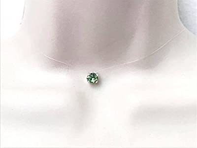 Collier ras du cou strass de swarovski cristal vert péridot fil de nylon transparent