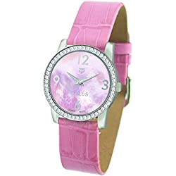 Tellus - Vintage - Luxury Women's watch with pink mother of pearl dial, pink strap in Genuine calf leather, Swiss Made - T5068DI-011