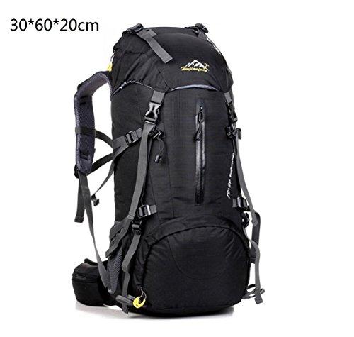 LQABW 50L Große Kapazitäts Männliche Und Weibliche Outdoor-Bergsteigen Tasche Super-Outdoor-Camping-Sportpaket Nylon Wasserdicht Black