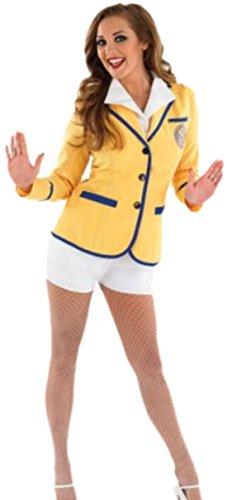 Dienstmädchen Animateur Kostüm, L, Gelb (Hübsch Schminken Für Halloween)