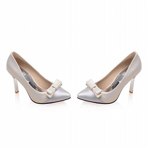 Mee Shoes Damen süß modern Mischfarbe mit Schleife Trichterabsatz Plateau Pumps Beige