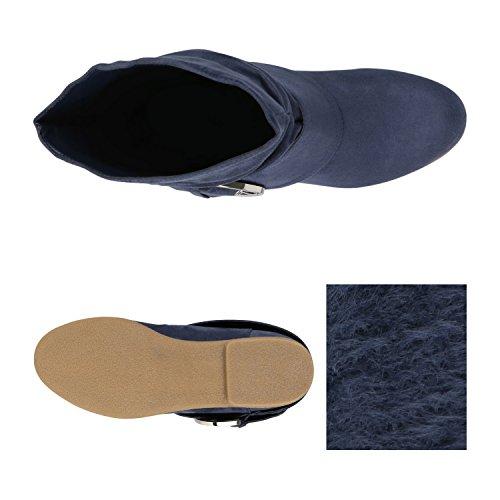 Stiefelparadies Damen Stiefeletten Keilstiefeletten Gefütterte Flache Schlupfstiefel Wedges Boots Stiefel Keilabsatz Schuhe Schleifen Flandell Blau Schnallen