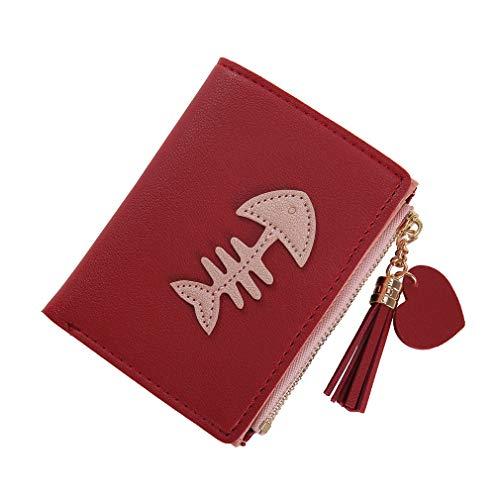 SUNSKYOO Damen Short Wallet PU Leder Fish Bone Print Fashion 2-Fach Quaste Anhänger Zipper Button Wallet, rot