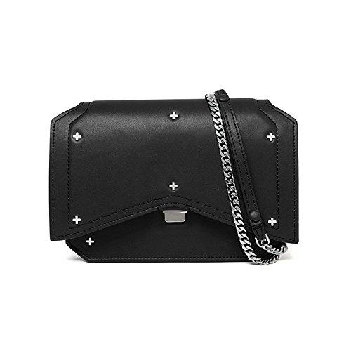 Mefly Schultertasche Aus Leder Handtasche Leder Crossbody-Tasche Black
