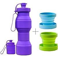 CHRISLZ Botella de agua plegable BPA Botella de silicona a prueba de fugas botella de agua