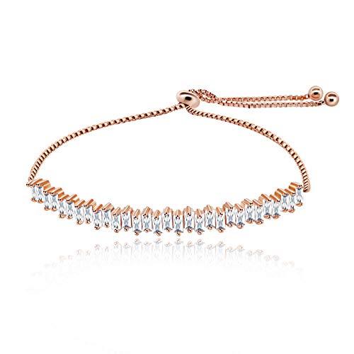Uloveido Baguette Form Erstellt Diamant Tennis Armband für Frauen Rose Gold Farbe Erweiterte Gliederkette Armband für Mädchen Y494 - Für Frauen Diamant-gold-armbänder