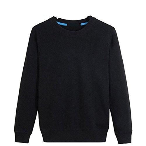 BOMOVO Herren Langarm Fashion Freizeit Verdicken Langarm Shirt Slim Fit Schwarz