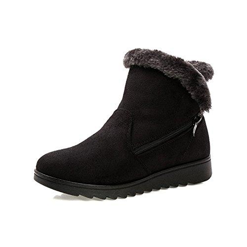 Gaatpot Womens Fur Lining Winter Warm Snow Boots Comfy Flats Waterproof Non-slip...
