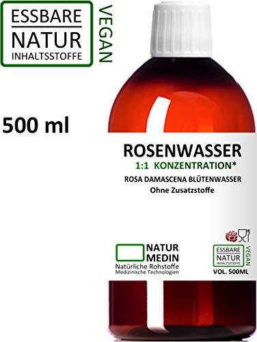 ROSENWASSER 500-ml Gesichtswasser, 100% naturrein, 1:1 Konzentration, Rosa damascena Blüttenwasser, ohne Zusatzstoffe, PET Braunflasche, nachhaltig -