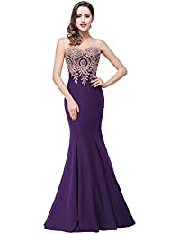 Babyonlinedress Vestido para fiesta de noche y para boda estilo sirena y elegante escote redondo sin mangas espalda semicubierta de cierre con el bordado refinado