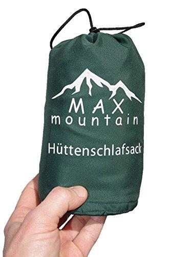 MAX mountain Saco de dormir para de microfibra + funda para la almohada, ligero, transpirable, ideal para hotel y las excursiones de senderismo, los viajes, las acampadas , verde 220x90cm 300g