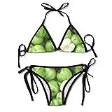 Triángulo Sexy bañándose Dos Piezas Green Fruit Apples Healthy Ladies Summer Beach Outfit Bikini Two-Piece Swimsuit