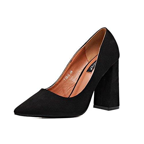 LvYuan-mxx Talons Femmes / Printemps Été / Confort suède / Casual / Bas chunky Talon / pointu pointe / sandales BLACK-36