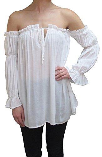 Anna-Kaci Damen Weiß Boho Chiffon Schulterfrei Faltenwurf Gothic Mittelalter Langarm Shirt Bluse, Größe M, Farbe Weiß (Mieder Bluse Vintage)